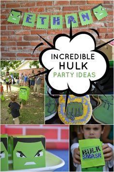 Incredible Hulk Superhero Party Ideas  I really like the smash hulk piñata idea!   Visit www.fireblossomcandle.com for more party ideas!