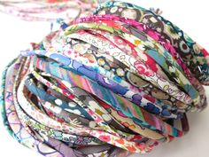 5 yards Liberty spaghetti cord cut offs, mystery grab bag of 5mm wide Liberty fabric cords, jewellery making supplies, bracelet cord UK by BluebellHillCrafts on Etsy https://www.etsy.com/listing/249829286/5-yards-liberty-spaghetti-cord-cut-offs