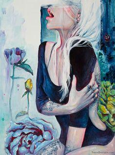 Her Garden Canvas Artwork by Tanya Shatseva Art And Illustration, Illustrations, Inspiration Art, Art Inspo, Psychedelic Art, Fantasy Kunst, Fantasy Art, Psy Art, Dope Art