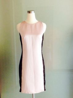 Soft Pink lace contrast column dress. 100silk satin & by Nellyliu, $200.00