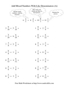 The Adding Mixed Fractions -- Like Denominators Renaming No Reducing (I) Math Worksheet Adding Mixed Fractions, Adding And Subtracting Fractions, Multiplying Fractions, Dividing Fractions, Equivalent Fractions, Fractions Worksheets Grade 4, Free Math Worksheets, Subtraction Worksheets, Kindergarten Worksheets