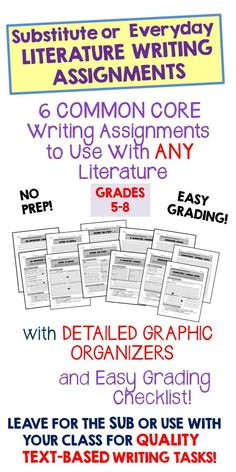Six different one-page writing assignments that can be paired with ANY story, drama, or novel. Perfect for substitute plans! Each is designed with a graphic organizer to keep students on topic and consulting the text for details.