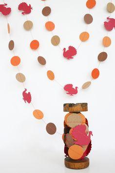 Paper Garland - Fall/Thanksgiving/Autumn - Thanksgiving Turkey #yellowbirdyellowbeard