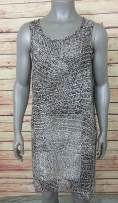 MSK sheer overlay shift dress cover up sleeveless womens size M brown print #MSK #Shift #Casual