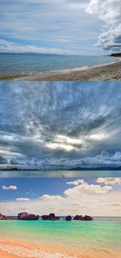 blue sky, clouds, water, beach