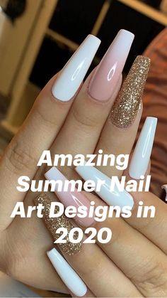 Acrylic Nails Coffin Short, Simple Acrylic Nails, Pink Acrylic Nails, Yellow Nails, White Nails, Acrylic Nails With Design, Wedding Acrylic Nails, White Coffin Nails, Coffin Shape Nails