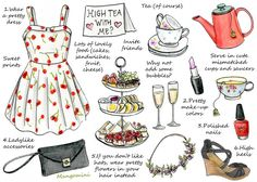 How To Have A High Tea Party Cindy Mangomini Per request, this week's illustrated how-to shows you some ideas on how to have a fun High Tea party at home. It's all about dressing up (no jeans allowed on a High Tea), tasty food, good company and tea of course. If you have a garden and the weather allows it, have it outside. If not, it can also be a perfect way to spend a cold, rainy day inside.