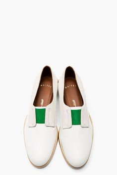 LAla Fashion Shoes MAIYET Ivory & Green Slip on Derbys