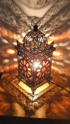 Moroccan Style Jeweled Cutwork Flower Table Lamp V Moroccan Lighting, Moroccan Lamp, Moroccan Lanterns, Moroccan Style, Moroccan Bedroom, Bedroom Light Fixtures, Bedroom Lighting, Ramadan Lantern, Ramadan Decorations