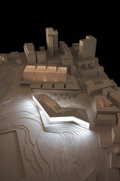 Architecture Photography: Museum of Tolerance in Jerusalem / Chyutin Architects - model-night via ArchDaily