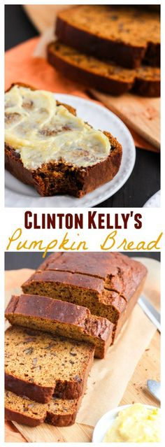 Pumpkin bread that's super moist, packed with sweet dates, and toasted walnuts. The orange honey butter it the perfect topping to compliment  the pumpkin flavor. I had to make it after I saw Clinton Kelly make it on The Chew last week!