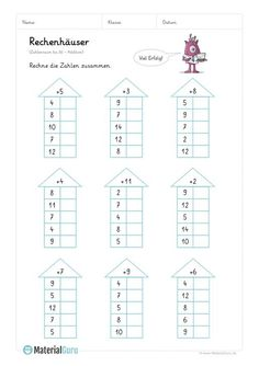 """NEW: A free math worksheet on """"computing houses"""" for the basic … - Bildung Math Addition Worksheets, 1st Grade Math Worksheets, Preschool Worksheets, Math Activities, Montessori Math, Montessori Education, Math Charts, Learning English For Kids, Math School"""