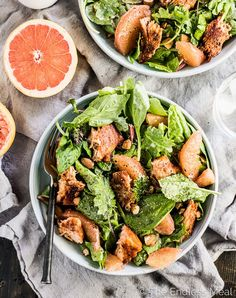 This fresh and tropical Grilled Salmon Salad is as DELICIOUS as it gets. It's a healthy lunch or dinner recipe that is gluten-free + paleo + Salad Recipes For Dinner, Dinner Salads, Lunch Recipes, Cocktail Recipes, Grilled Salmon Salad, Grapefruit Recipes, Grapefruit Salad, Salad Toppings, Food Salad