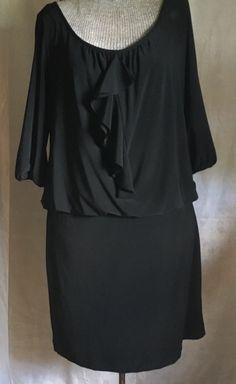 White House Black Market Blouson Dress Ruffle Front Lined Medium 3/4 Sleeve  #WhiteHouseBlackMarket #Blouson #Cocktail