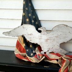 American Eagle White Washed 4th of July Decor