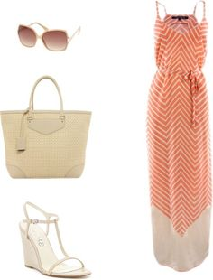 Orange chevron maxi + bag, t strap shoes + sunglasses / styled / fashion
