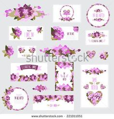 Elegant cards with floral orchid bouquets and wreath, design elements Can be used for wedding, baby shower, mothers day, valentines day, birthday cards, invitations Vintage decorative flowers