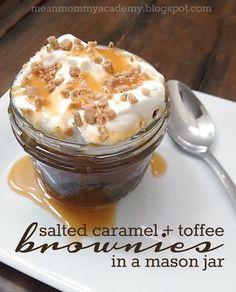 Salted caramel + toffee brownies (in a mason jar) recipe