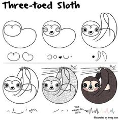 gregham:  How to draw a sloth. #sloth #cute #kawaii #artoftheday  For future reference