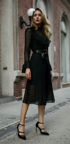 Black Lace Midi Dress // black lace ruffled midi dress, black patent mary jane pumps, black waist belt with chain, black velvet shoulder bag, dark red lipstick {Temperly London, Chloe, Jimmy Choo, special occasion outfit, date night style, what to wear ye