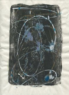 """9"""" x 12"""" hand pulled monotype from a home made gelatin plate. Abstract, contemporary art. Acrylic paints and ink on bamboo paper. Unique #etsy"""