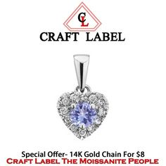 """1/4 Ct Round Brilliant Cut Purple Tanzanite 14K Gold Heart Promise Pendant Without Chain """"Mother\'s Day Gift"""". Starting at $1"""