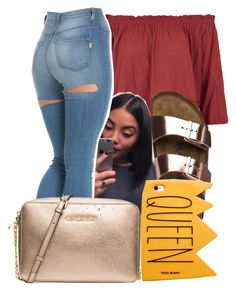 """7/15/16"" by lookatimani ❤ liked on Polyvore featuring Topshop, Birkenstock and MICHAEL Michael Kors"