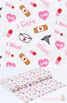 off-white cotton fabric with white nurse caps, band-aids with red hearts, black caducei, pink hearts and texts 'Hope', 'I care', 'I heal' etc., very high quality fabric, typical great Sykel Enterprises quality #Cotton #Retro #USAFabrics Retro Fabric, Band Aid, White Fabrics, Fabric Patterns, Red And Pink, White Cotton, Off White, Cotton Fabric