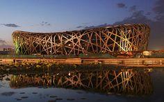 "Bejing National Stadium, the ""bird's nest"". Herzog and de Meuron architects."
