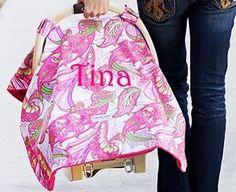 Monogrammed Carseat Canopy in Pink Swirls