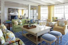 blue and yellow nautical living room