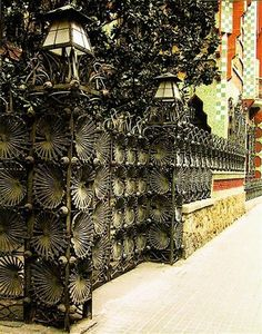 Casa Vicens Wrought Iron Entrance by Antoni Gaudi Architecture Cool, Barcelona Architecture, Barcelona City, Barcelona Catalonia, Barcelona Travel, Gaudi Barcelona, Art Nouveau Arquitectura, Antonio Gaudi, Spain And Portugal
