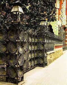 Casa Vicens Wrought Iron Entrance by Antoni Gaudi Barcelona Architecture, Barcelona City, Barcelona Catalonia, Amazing Architecture, Art And Architecture, Architecture Details, Gaudi Barcelona, Art Nouveau Arquitectura, Antonio Gaudi