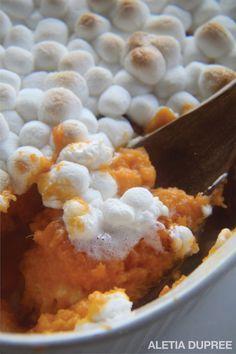 Sweet Potato Soufflé with Marshmallows - Aletia DuPree - lou Sweet Potatoes With Marshmallows, Recipes With Marshmallows, Sweet Potato Casserole, Sweet Potato Recipes, Veggie Recipes, Sweet Potato Suffle, Thanksgiving Recipes, Holiday Recipes, Souffle Recipes
