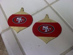 i made my own sf 49ers Christmas ornaments! DIY  tree red and gold Crafts duct tape