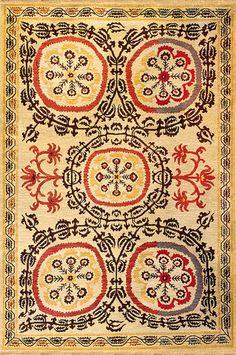 suzani 1 mocha red - this classic soumak wool rug has a mediterranean feel, like a roman mosaic.