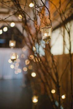 hanging tea lights on manzanita branches.