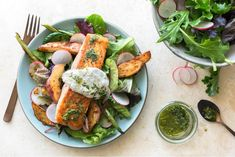 Salmon with roasted new potatoes and green beans - gluten-free, soy-free, low calorie