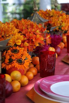 Pink and Orange Summer Dinner Party by Heather Christo