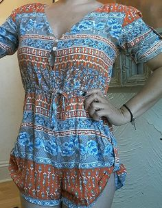 BOHO LIGHTWEIGHT ROMPER JRS.  S SHORTS SHORT SLEEVES BOHEMIAN FLORAL RUCHED…