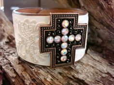 White embossed leather cuff featuring 2 inch by dirtynameranch, $32.00