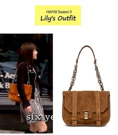 "On the blog: Lily Aldrin's (Alyson Hannigan) suede tan shoulder bag | How I Met Your Mother - ""The Poker Game"" (Ep. 905) #falltv #tvstyle #tvfashion #himym"