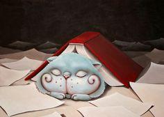 Reading is such a pleasure! -says the cat / Que placer leer! -dice el gato (ilustración de Cristina Serrat)