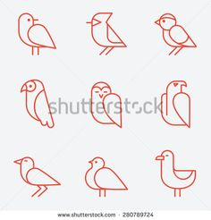 Bird icons, thin line style, flat design - stock vector