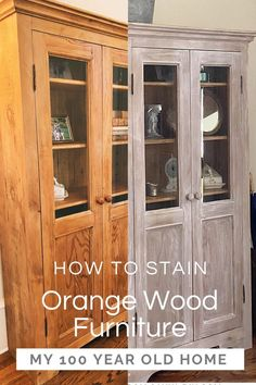 Have you ever wished for a way to get rid of orange stain found on older furniture? I finally figured out how to stain orange wood furniture and the result is amazing! Refurbished Furniture, Paint Furniture, Furniture Projects, Furniture Makeover, Furniture Refinishing, Whitewashing Furniture, Refinish Wood Furniture, Armoire Makeover, Furniture Painting Techniques