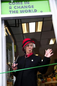 Oxfam in St Albans has reopened after a makeover. Lovely Audrey who is cutting the ribbon has volunteered there for 45 years!