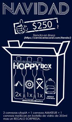 HOPPY BOX de Cerveza meXican       @CervezaMeXican LINK DE COMPRA     #cerveceriacoral #cervezaartesanal   #CervezameXican  #CervezameXican Coral, Link, Movie Posters, Surprise Gifts, Glass Bottles, Film Poster, Billboard, Film Posters