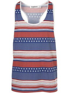 Red Stars and Stripes Tank - Topman - $32