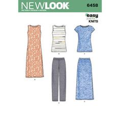 New Look Just 4 Knits wardrobe pattern includes knit tank, tee shirt, pull on pants, maxi skirt and maxi dress with side slits. Easy to sew & great for travel. New Look 6458 Multi size sewing pattern New Look Patterns, Sewing Patterns Free, Dress Patterns, Clothes Patterns, Coat Patterns, Sewing Hacks, Sewing Tutorials, Sewing Crafts, Sewing Tips