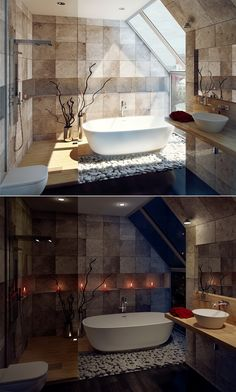 Elegant Modern Bathroom Featuring Interior Design With Candle On Wall Garden Pebbles, White Bathtub And Wooden Floor And Sideways Glass Window